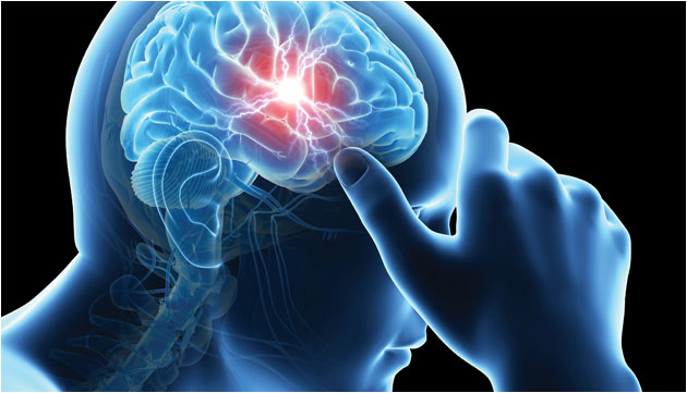 illustration of human brain neurological activity
